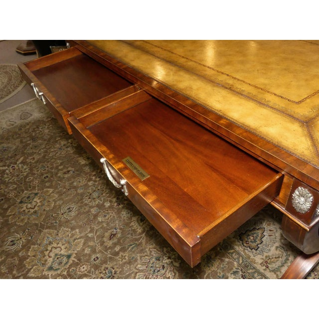 Maitland Smith Regency Style Leather Top Mahogany Writing Desk For Sale - Image 9 of 11