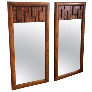 Brutalist Mid-Century Modern Mirrors - a Pair For Sale