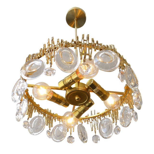 Palwa Gilt Brass & Crystal Brutalist Ceiling Fixture by Palwa For Sale - Image 4 of 6