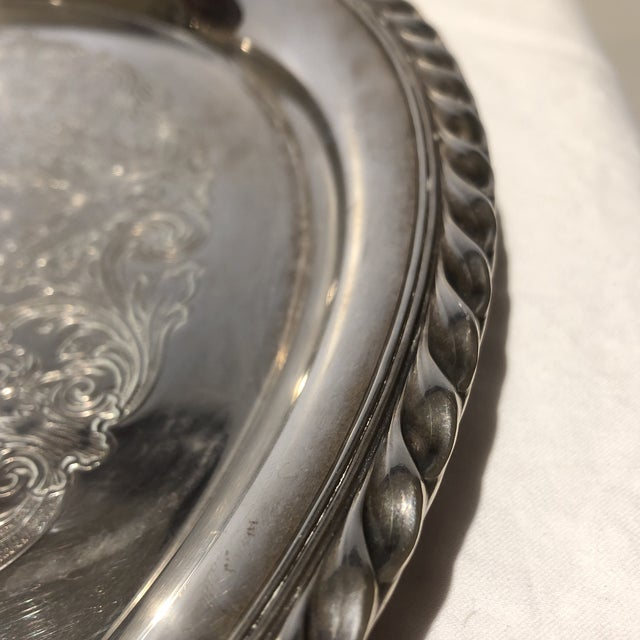 1950s Wm Rogers Silver Plate Ornate Floral Serving Tray For Sale - Image 5 of 8