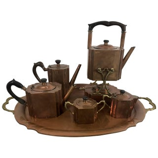 Stylized Art Deco Copper Tea and Coffee Set - 6 Pieces For Sale