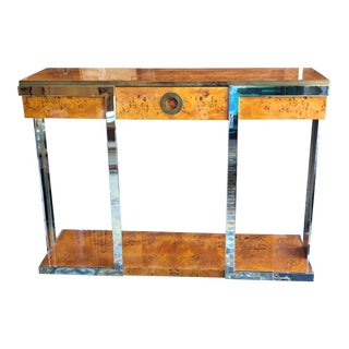 1970s Italian Willy Rizzo Burled Wood, Chrome and Brass Console Table For Sale