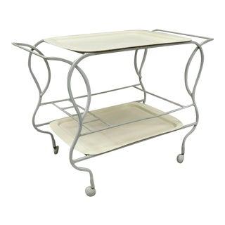 Vintage Mid Century Modern Modern Cast Aluminum Two Tier Bar Cart Fiberglass Trays For Sale