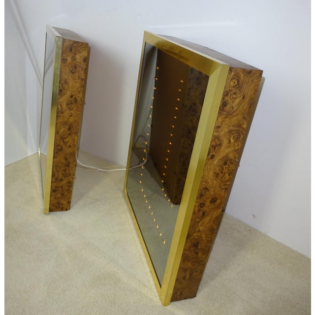 Vintage Brass & Burl Wood Infinity Mirrors - a Pair - Image 7 of 10
