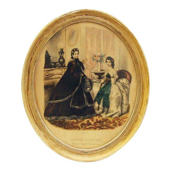 Framed Oval Victorian Print For Sale