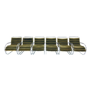 Set of Six Mies Van Der Rohe Mvr Lounge Chairs With Arms by Gordon International For Sale