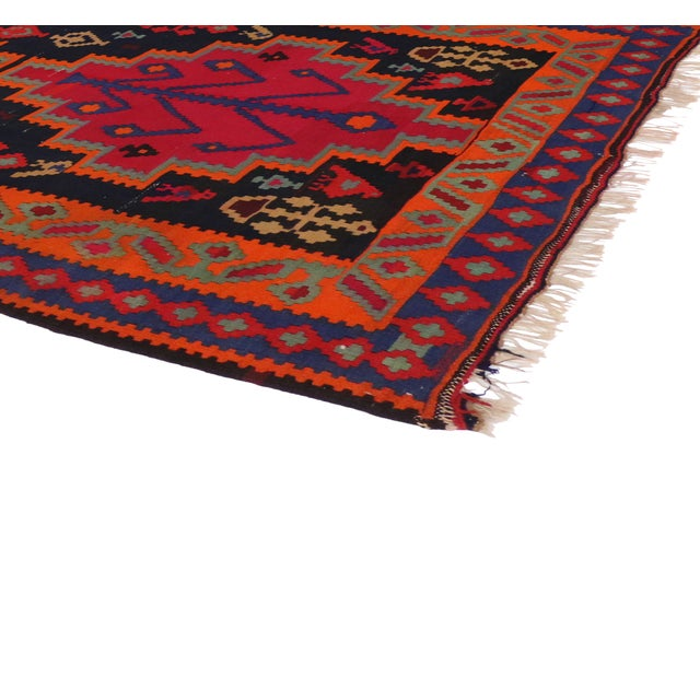 "Boho Chic Vintage Persian Tribal Kilim Rug Runner - 5'3"" X 11'3"" - Image 3 of 6"