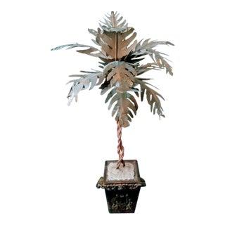 Vintage Tole Palm Tree in a Ram Head Pot Metal Sculpture For Sale
