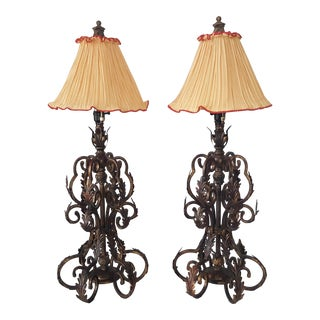 Late 20th Century Wrought Iron Leaves Tall Table Lamps - a Pair For Sale