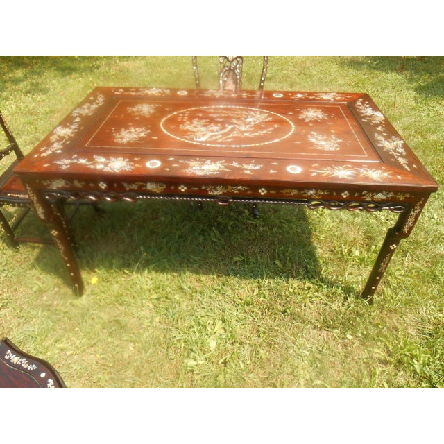 Mother of Pearl Inlay Asian Dining Set - Image 6 of 11