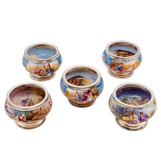 Antique Decorated Viennese Enamel and Silver Salts - Set of Five For Sale