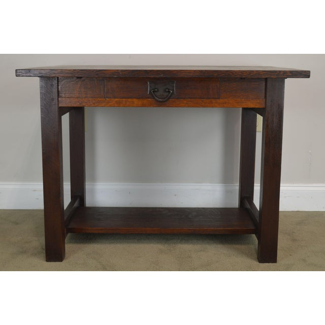 Mission Oak Antique One Drawer Table Writing Desk Possibly Stickley For Sale - Image 10 of 13