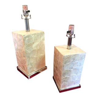 Vintage Mother of Pearl Square Table Lamps - Set of 2 For Sale