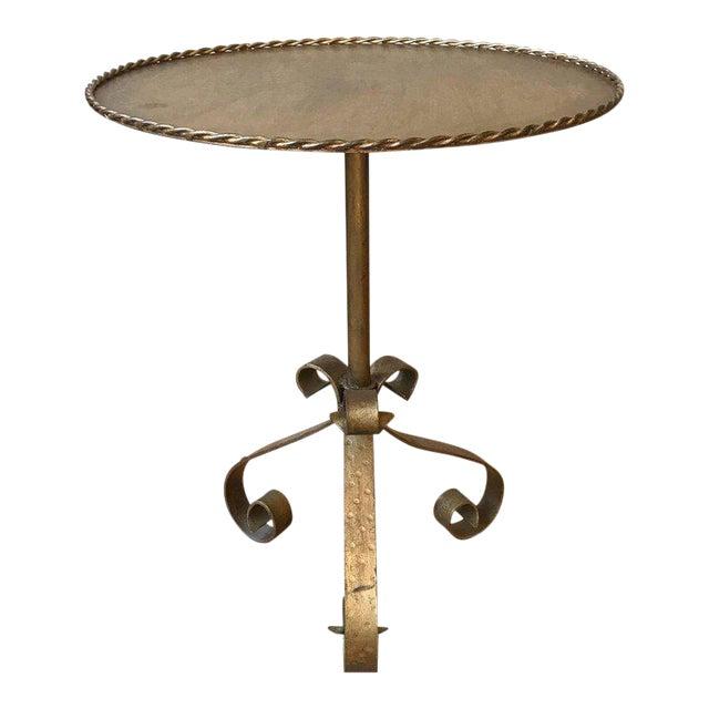 Gilt Metal End Table on a Tripod Base - Image 1 of 7