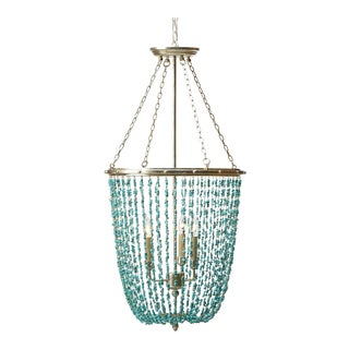Ethan Allen Turquoise Beaded Chandelier For Sale