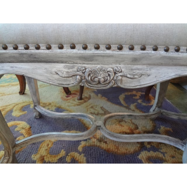 French French Louis XIV Style Painted Bench For Sale - Image 3 of 8