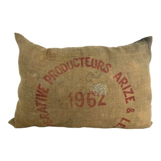 Vintage French Grain Sack Pillow For Sale
