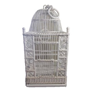 Vintage White Wicker Birdcage For Sale