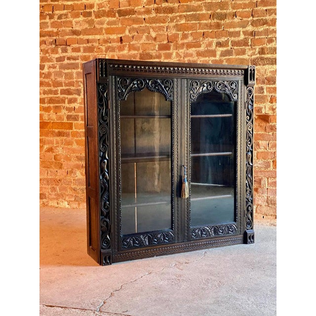 Gothic 1880 Antique Gothic Solid Oak Bookcase For Sale - Image 3 of 11