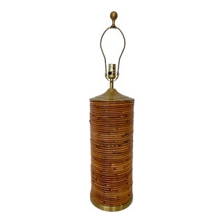 Vintage Pencil Reed Rattan Lamp For Sale
