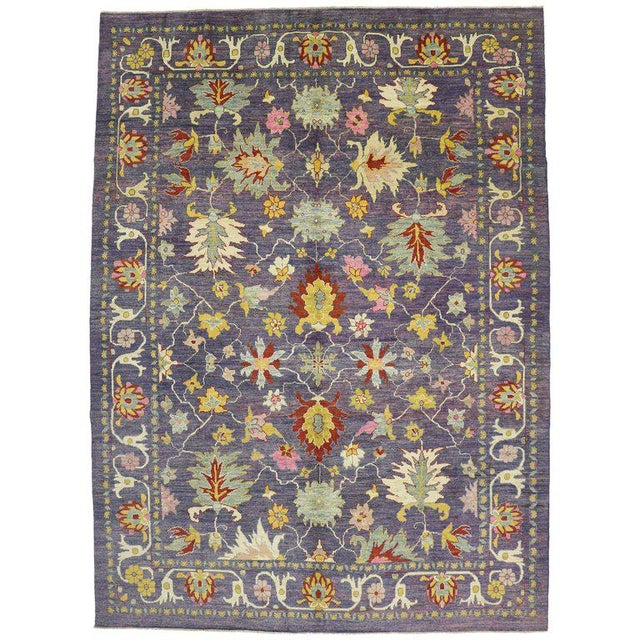 "Colorful Contemporary Turkish Oushak Rug - 11'4"" X 15'6"" For Sale - Image 10 of 10"