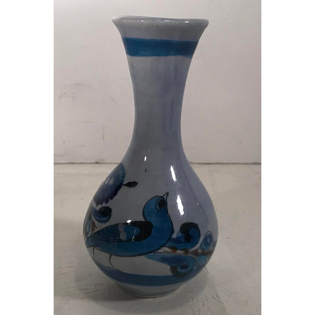 Paint Vintage Hand Painted Blue Mexican Vase With Bird For Sale - Image 7 of 7