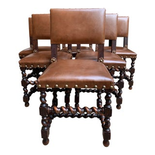 Set 6 Antique English Oak Dining Chairs Barley Twist Brass Trim Jacobean Style For Sale