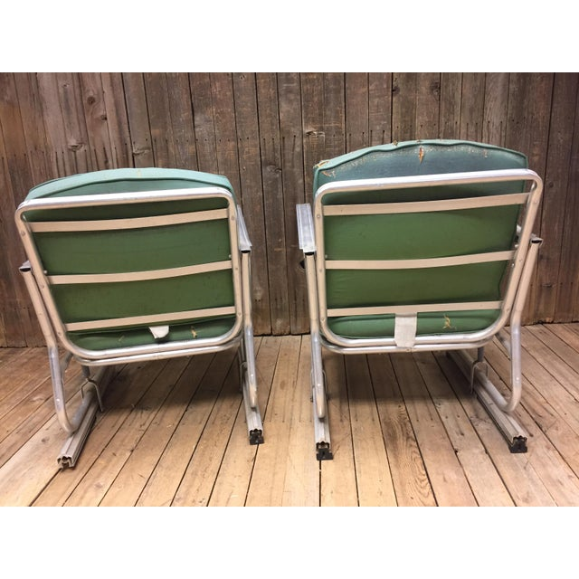Mid Century Modern Bunting Aluminum Glider Patio Chairs - A Pair For Sale - Image 5 of 11