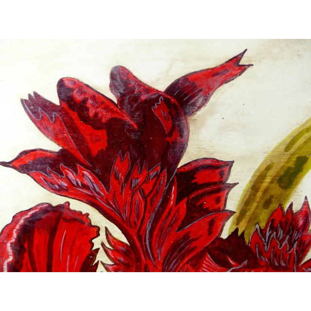 This a large botanical ink painting of an exotic variety of tulip. Great feeling. detail and movement in the artwork....