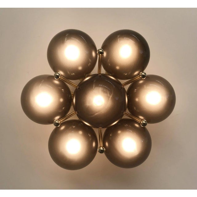 Italian modern flush mount or wall light with 7 frosted smoky Murano glass globes mounted on chic polished brass finish /...