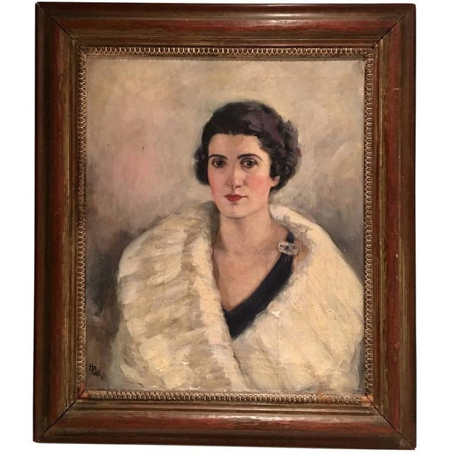 Early 20th Century Original Oil Painting Female Portrait -Framed & Signed By, H. Pink For Sale - Image 10 of 10