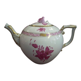 Herend Pink with Gold Detail Chinese Bouquet Tea Pot For Sale