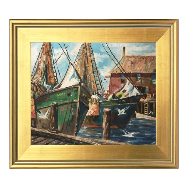 Vintage Oil Painting of a Harbor Scene with Ships C. 1950s - Image 1 of 5