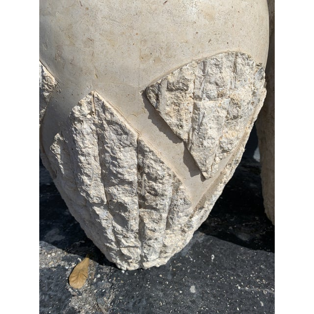 Tessellated Mactan Stone Floor Vases - A Pair For Sale In Miami - Image 6 of 12