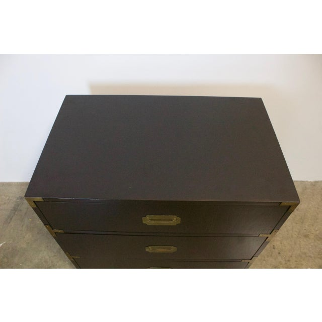 Gold Black Lacquered Three Drawer Campaign Chest For Sale - Image 8 of 12