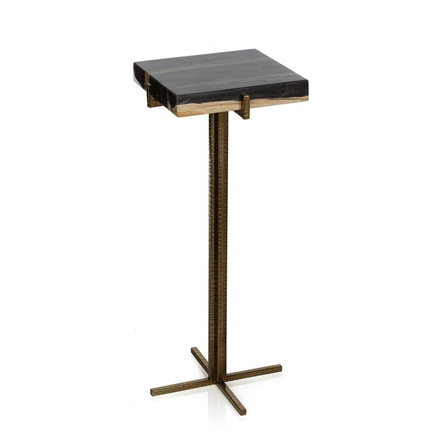 Contemporary Kenneth Ludwig Petrified Wood Square Martini Table For Sale - Image 3 of 3