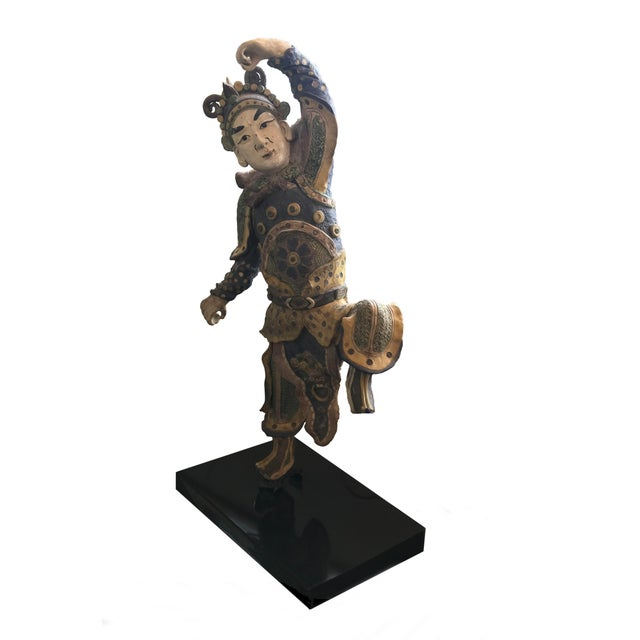 Early 20th Century Chinese Standing Roof Tile Figure on Stand For Sale - Image 4 of 4