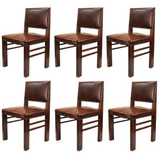Set of Six American Arts and Crafts Oak Chairs with Cognac Colored Leather Seats For Sale