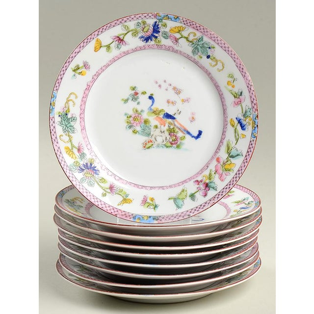 Ceramic Noritake Pink with Bird of Paradise Bread & Butter Plates - Set of 9 For Sale - Image 7 of 7