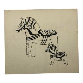 Mid-Century Modern Horses by Berni 1950s For Sale