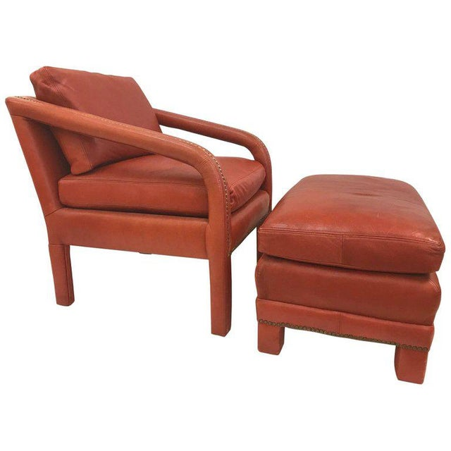 Burgundy Leather Lounge Chair and Ottoman Style of Gilbert Rohde For Sale - Image 8 of 8