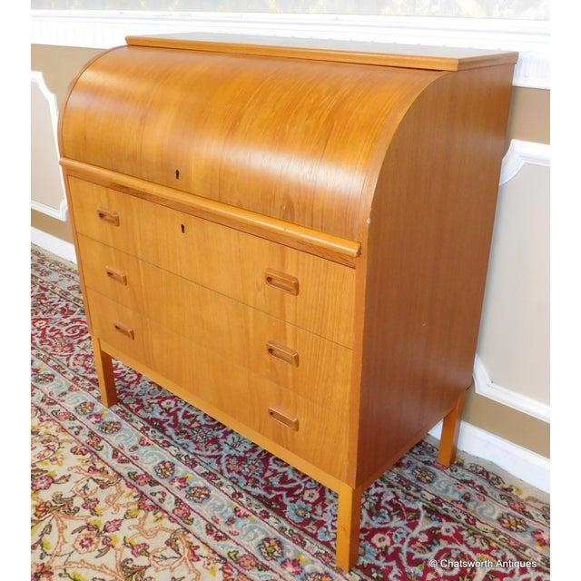 Brown Egon Ostergaard Scandinavian Teak Cylinder Desk For Sale - Image 8 of 9