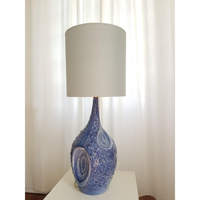 1980s Signed Large Blue Ceramic Italian Lamps, 1980s Mediterranean Style - a Pair For Sale - Image 5 of 12