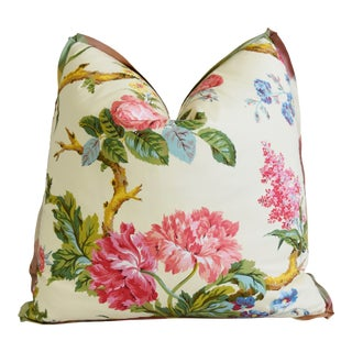"""Brunschwig & Fils Coligny Floral Feather/Down Pillow 21"""" Square For Sale"""