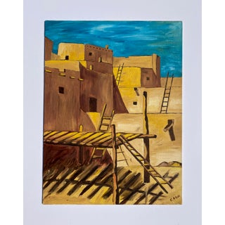 20th Century Landscape Painting of Southwestern Adobe Pueblo For Sale