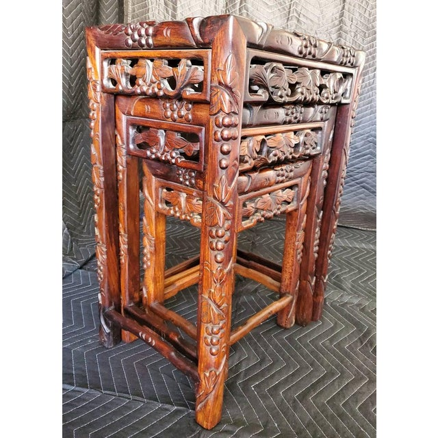 Antique Chinese Carved Nesting Tables - Set of 3 For Sale - Image 10 of 11