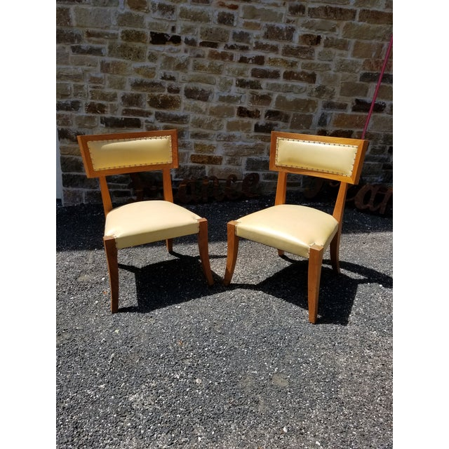 Yellow Pair of Yellow Leather Side Chairs by Ironies For Sale - Image 8 of 9