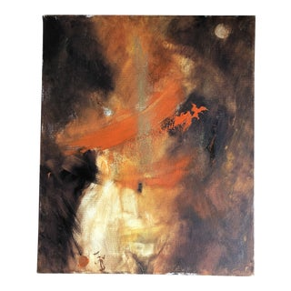Original Contemporary Abstract Female Nude Figure Painting by Listed Hungarian Artist Istvan Csizmadia For Sale