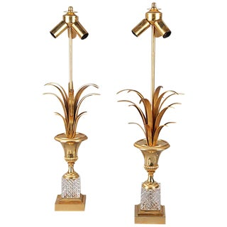 Pair of Brass and Crystal Lamps For Sale