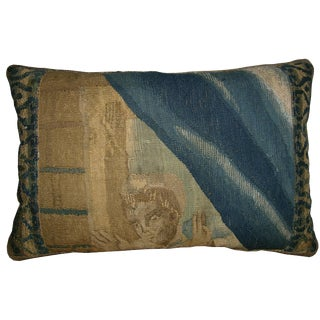 17th Century Antique Brussels Tapestry Pillow - 18 X 12 For Sale